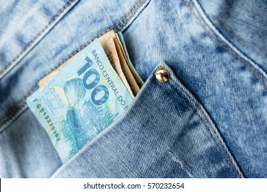 Brazilian money (Real) on the Jeans