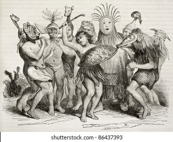 Brazilian natives dancing old illustration. By unidentified author, published on Magasin Pittoresque, Paris, 1843
