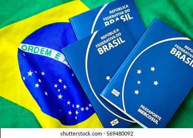 Brazilian Passport on Brazilian flag background