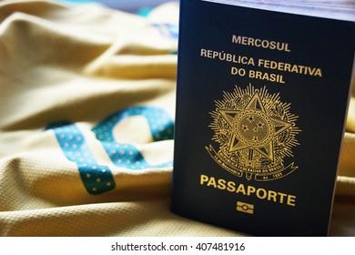 Brazilian Passport on yellow background