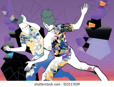 Brazilian People Playing Capoeira Martial Arts in Brazil. Abstract illustration