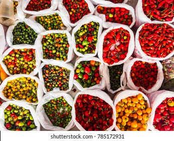 Brazilian peppers being sold in traditional street market in the interior of Brazil