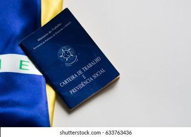 Brazilian portfolio on brazilian flag and white background