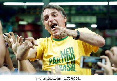 Brazilian presidential candidate Jair Bolsonaro during a rally in Juiz de Fora on 06th september 2018