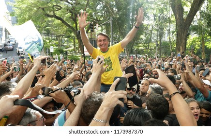 Brazilian presidential candidate Jair Bolsonaro during a rally in Juiz de Fora on 06th september 2018