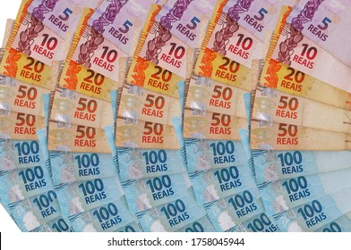 Brazilian Real banknotes. Brazilian money. Inflation and economy concept.