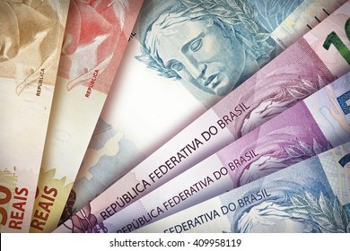 Brazilian Real bills creating a colorful background