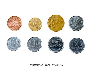 Brazilian real coins isolated on white background showing two versions of each coin, showing change from old to the new. Concept of money in emerging countries. Shows the appearance of money in Brazil