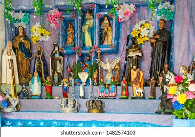 Brazilian religious altar mixing elements of umbanda, candomblé and catholicism in the syncretism present in the local culture and religion