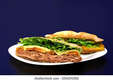 Brazilian sandwich with meat,cheese and salad (Beirute)
