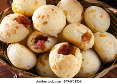 Brazilian snack cheese bread, pao de queijo, Brazilian snack cheese bread stuffed with pepperon