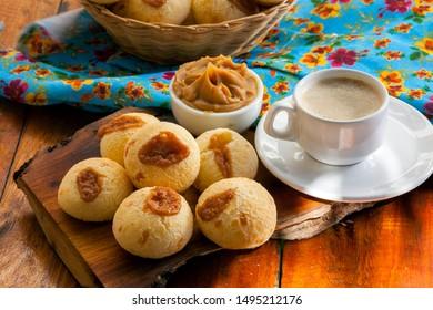 Brazilian snack cheese bread, pao de queijo Stuffed with Dulce de Leche and coffe