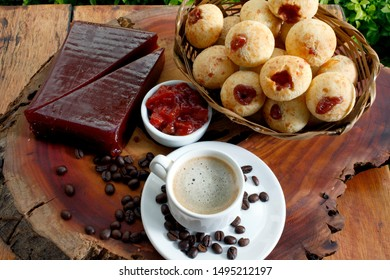 Brazilian snack cheese bread, pao de queijo stuffed with guava and coffee