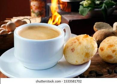 Brazilian snack cheese bread, pao de queijo, Brazilian  cup of coffee