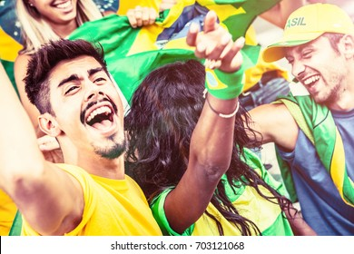 Brazilian Supporters at the Stadium, Soccer Championship