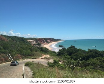 Brazilian Tropical Beach. Road to Tambaba beach, Joao Pessoa, Paraiba, Brazil. The best naturist beach in Brazil. Nudist beach tambaba.