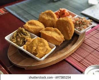 Brazilian typical food Bahia - Acaraje with Vatapa and Fried Shrimp