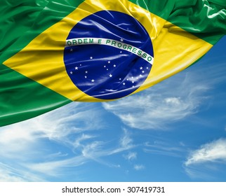 Brazilian waving flag on a beautiful day