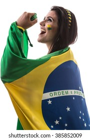 Brazilian woman fan holding the flag of Brazil on white background