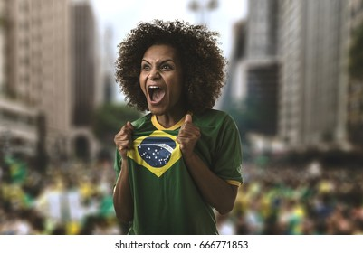Brazilian woman screaming in Sao Paulo, Brazil