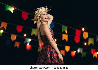 Brazilian woman wearing typical clothes for the Festa Junina - June festival