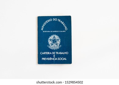 "The Brazilian work permit documento, called ""Carteira de Trabalho"" or CTPS, with white background"