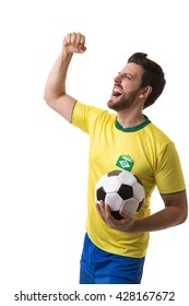 Brazilian young fan celebrating on white background