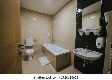 BRCKO, BOSNIA AND HERZEGOVINA - Feb 16, 2021: Bathroom in hotel room in Bosnia and Herzegovina
