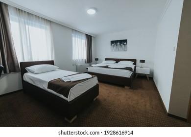 BRCKO, BOSNIA AND HERZEGOVINA - Feb 16, 2021: Wide angle shot of hotel room in Bosnia and Herzegovina