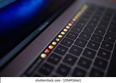 "Brcko district, Bosnia and Herzegovina - March 31st 2019: Apple MacBook Pro 15"" notebook with Touchbar"