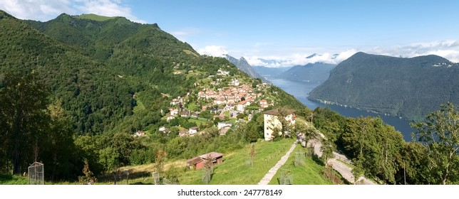 Bre. Lugano - Switzerland: Village of Bre, Lugano. Shots of the core with the mountains behind and the ancient inland