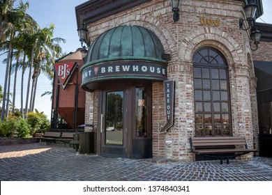 Brea, California/United States - 03/12/19: A store front and sign for the Chicago pizza chain known as BJ's Restaurant and Brewhouse
