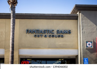 Brea, California/United States - 04/17/2019: A store front sign for the hair salon chain known as Fantastic Sams Cut and Color
