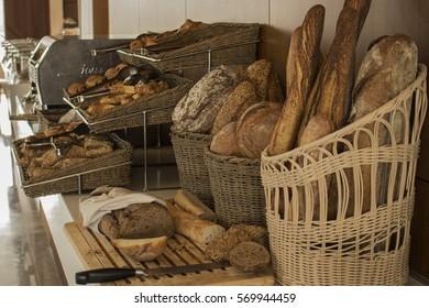 Bread. All types of bread in a breakfast hotel.