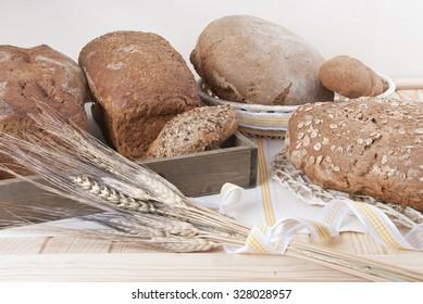 bread assortment of baked bakery