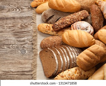 bread in an assortment on the board. top view.