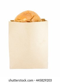 Bread in bags paper on white