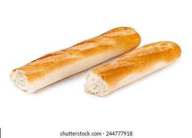 Bread baguette isolated on white background