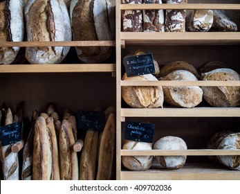 Bread, baguettes, sourdoughs, brioches, all freshly baked on a Sunday morning ready for the rush of customers at this bakery.
