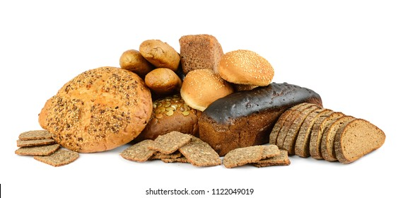 Bread and baked goods isolated on white background. Side view.