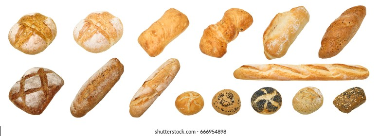 Bread and bakery. Different kinds of non sweet bakery and bread: whole grain bread, ciabatta, brown homemade, baguette, etc. isolated on white background with work path.