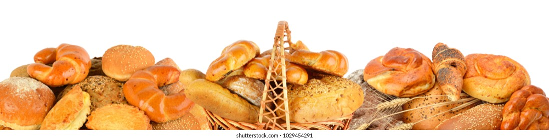 Bread and bakery products isolated on white background. Panoramic collage. Wide photo with free space for text.