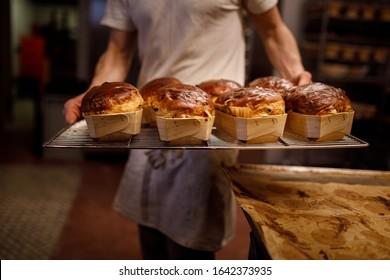 Bread baking in artisanal bakery