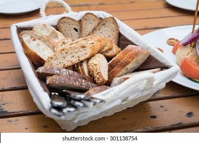 Bread in basket.