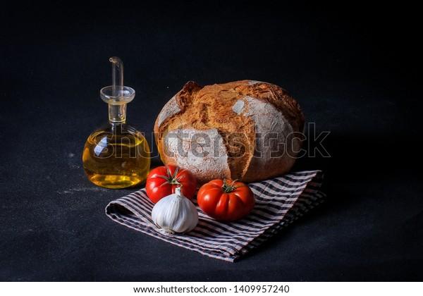 Bread Breakfast Garlic Oil Mediterranean Diet Stock Photo