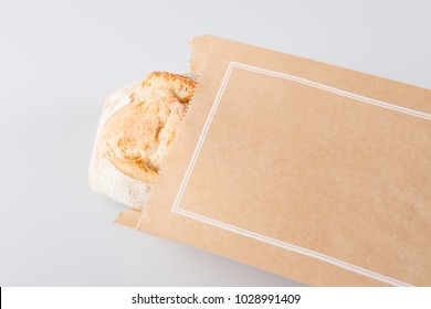 bread Brown paper bag isolated on white background