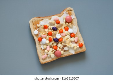 Bread and butter with tablets