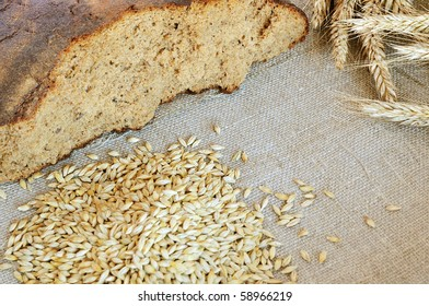 Bread and cereals on the burlap background
