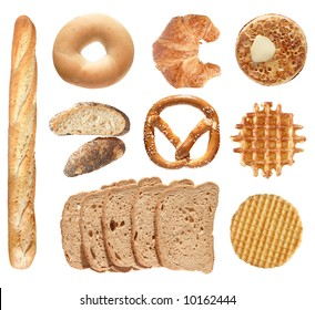 bread collection isolated on white