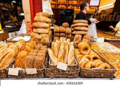 Bread counter at the Mahane Yehuda Market in Jerusalem.